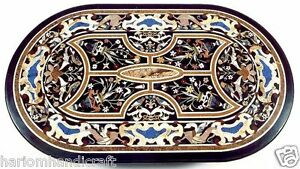 2.5'x5' Marble Dining Table Top Pietradure Inlaid Mosaic Callectible Arts H1546