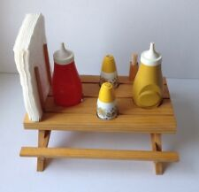 Vintage Hand Made Picnic Table Condiment Bottle/Napkin Holder Folk Art