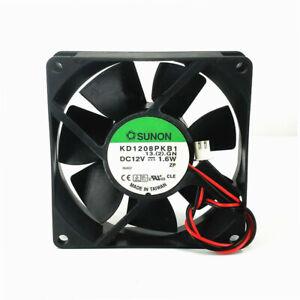 SUNON KD1208PKB1 12V  1.6W  8020 8cm Double Ball 2-wire Cooling Fan