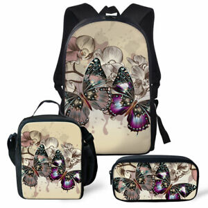 FOR U DESIGNS Butterfly Lunch Bag Backpack School Bookbag Pencil Case Bags 3pcs