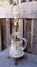 BEAUTIFUL VINTAGE OOAK CRYSTAL & KOI PITCHER TABLE LAMP HANDMADE HOME & GARDEN