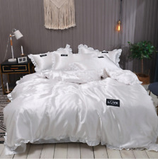 Lace Pure Satin Silk Bedding Set Adult Luxury Duvet Covers With Pillowcase Singl