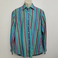 Boden Mens Shirt Large Button Up Green Red Striped Long Sleeve Cotton