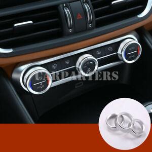 For Alfa Romeo Stelvio Silver Console Air Condition Knob Trim Cover 2017-2021