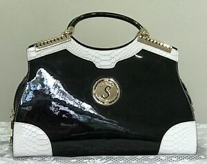 SERENADE BEVELEY HILLS COLLECTION PATENT LEATHER BLACK/WHITE HANDBAG