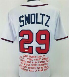 John Smoltz Signed Atlanta Braves Career Stat Jersey (JSA COA) 8xAll Star