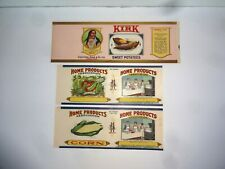 Vtg Vegetable Can Labels Sweet Potatoes Indian Brave Home Products Assoc. Corn