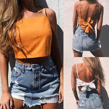 Women Summer Bow Knot Vest Crop Top Tie Up Casual Sleeveless Blouse Tank T Shirt