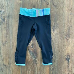 Ivivva by Lululemon Black Green Cropped Capri Leggings Size 6