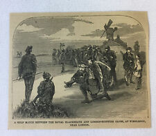 1877 magazine engraving ~ WIMBLEDON GOLF MATCH Royal Blackheath/London-Scottish