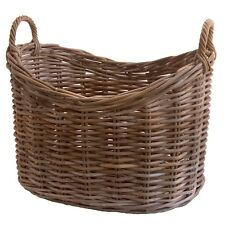 Oval Grey/Brown Wicker Storage or Log Basket