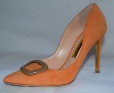 Rupert Sanderson Orange Suede High Heel Pumps with Brown Pebble UK4/EU37
