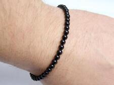 Delicate Men's Shamballa Bracelet 4mm BLACK AGATE gemstone beads 8inch