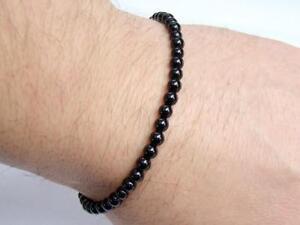 Delicate Men's Macrame beaded Bracelet 4mm BLACK AGATE gemstone beads 8inch