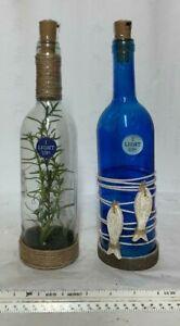 LOT 2 Seaport LED Light up Decorative Glass Bottles