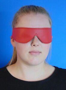 Echt Leder Augenmaske BDSM Maske Schlafmaske Augenbinde  Rot ®leder-joe