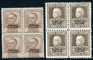 ITALIENISCHE KOLONIEN SOMALIA 1928 120,122 ** POSTFRISCH im VIERERBLOCK(S5844