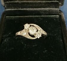 Antique Diamond And Platinum Ring Circa 1920 Gatsby Flapper Style