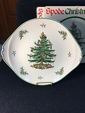 "SPODE CHRISTMAS TREE ROUND HANDLED CAKE PLATE 13"" OR SERVING DISH IN VGUC"