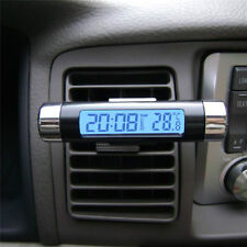 Universal In Car Dash Air Vent Thermometer Blue LCD Car Thermometer Time Clock