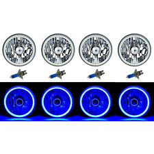 "5-3/4"" Blue LED COB SMD Halo Angel Eye Halogen Light Bulbs Metal Headlights Set"