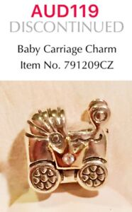 Pandora Silver And Gold Two Tone Baby Carriage Charm With CZ, 791209CZ