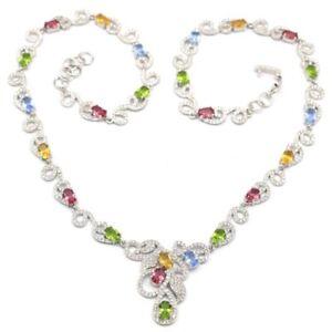 Colorful Tourmaline Citrine Peridot Tanzanite CZ Silver Necklace 17.5-19.5inch