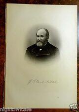 Antique Print 1885 DR.J.LELAND MILLER Sheffield, Massachusetts STEEL ENGRAVING