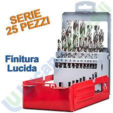 Serie 25 Punte Trapano per Ferro Rettificate KRINO Set Finitura Lucida 01360402