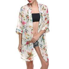 Lady Chiffon Kimono Cardigan Printed Shawl Coats Tops Beach Cover Up Blouse L