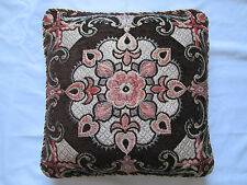 Tapestry Floral Ethnic Indian Chenille Cushion Cover Chocolate Brown Orange