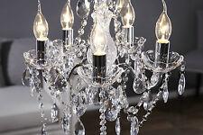 Kronleuchter Leuchte Deckenlampe Lüster 5-armig Chrom / Klar Hängelampe 41x37 cm