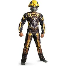 BUMBLEBEE MUSCLE Costume Boys Jumpsuit + Mask Childs Large 10 12 Transformers 3
