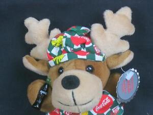 NEW COCA-COLA CHRISTMAS REINDEER SODA BOTTLE VEST HAT BEAN BAG PLUSH STUFFED TOY