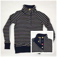 JOULES Cowdray Jumper Navy Stripe Pattern Cotton Button Funnel Neck Women's 8
