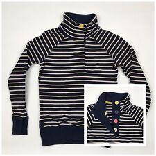 JOULES Cowdray Women's Jumper Size 8 Navy Stripe Pattern Cotton Funnel Neck
