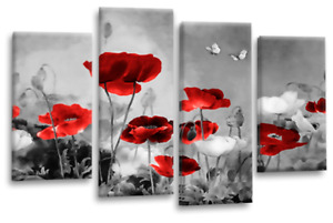 Le Reve Red Grey Wall Art Chinese Floral Flower White Poppies Split Canvas Panel