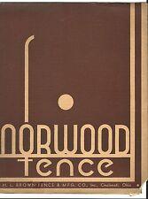 Old Advertising Brochure NORWOOD FENCE Brown Mfg Co Cincinnati Ohio Trellis Gate