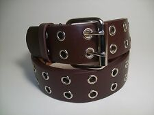 """Men Leather Belt Two Hole Metal Brown with Silver Buckle 38"""" #9915B"""
