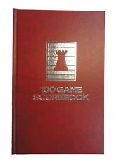HARDCOVER CHESS SCORE-BOOK - MARBLE RED - 100 GAMES - MADE IN USA