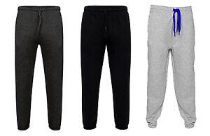 1s Mens Fleece Plain Jogging Bottoms Sports Jogger Trouser Pants S-XXL
