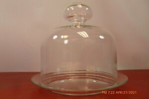 Mint  ARCOROC France Vtg Large Clear Glass COVERED PLATE Cheese Dish DOME COVER