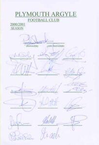 Plymouth Argyle FC - Signed Team Sheet - COA (13540)