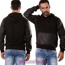 Sudadera de hombre manga larga capucha ecopiel bolsillos suéter halar M5011