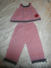 "Girls ""Specialty Girl"" Red & White Checked Gingham Dress & Pants W/Ladybug-Sz 6X"