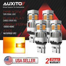 4x AUXITO 7443 7440 Anti Hyper Flash Amber LED Turn Signal Light Yellow Canbus
