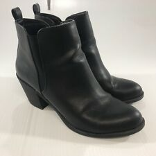Forever 21 Women's Black Faux Leather Ankle Boots Size 8