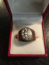 VINTAGE 14K (583) RUSSIAN ROSE GOLD MEN'S RING WITH 9 DIAMONDS