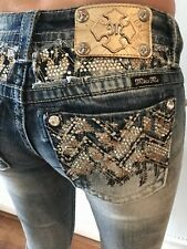 Miss Me Signature Straight Jeans 26×31 Beautiful Bling!