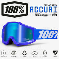 MASCHERA 100% ACCURI OCCHIALI MOTOCROSS MX REFLEX BLUE LENTE A SPECCHIO BLU